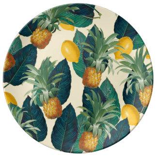 Louça amarelo dos limões dos abacaxis