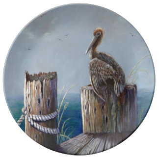 Louça Arte acrílica do oceano do pelicano de Brown da