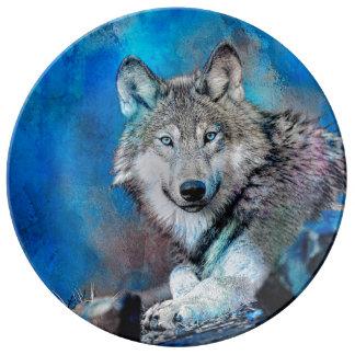 Louça Arte da aguarela do lobo