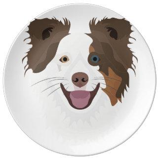 Louça Cara feliz border collie dos cães da ilustração