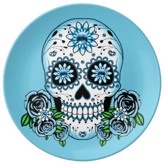Louça Crânio azul do açúcar