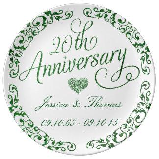 Louça De Jantar 20o Placa decorativa esmeralda do aniversário de
