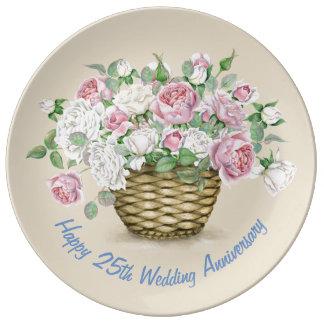 Louça De Jantar 25a placa feliz da porcelana do aniversário de
