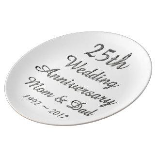 Louça De Jantar 25o Tipografia de prata chique do aniversário de