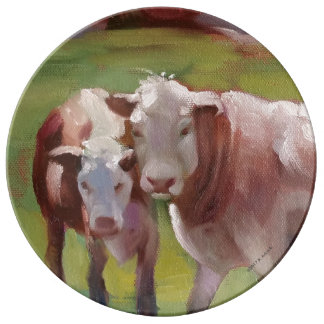 Louça De Jantar 2 vacas em uma placa da paisagem