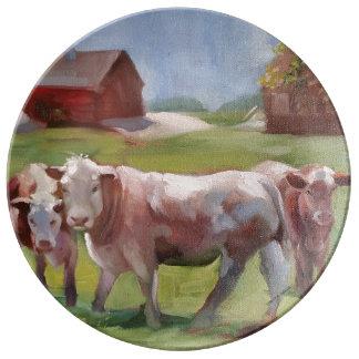 Louça De Jantar 3 vacas em uma placa da porcelana da paisagem
