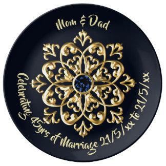 Louça De Jantar 45th Pais do aniversário de casamento da safira