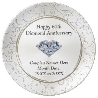 Louça De Jantar 60th placa feliz personalizada do aniversário do