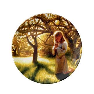 Louça De Jantar A fé de uma placa da porcelana da criança
