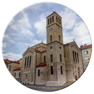 Louça De Jantar A igreja de St Joseph em Sarajevo. Bósnia e Herz