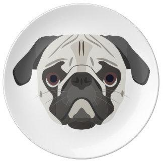 Louça De Jantar A ilustração persegue o Pug da cara