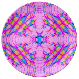 Louça De Jantar Abstrato do teste padrão do caleidoscópio do rosa