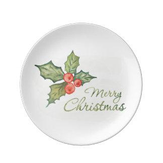 Louça De Jantar Aguarela do Natal | - citações da tipografia do