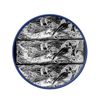 Louça De Jantar Azul e branco da placa da porcelana da sereia