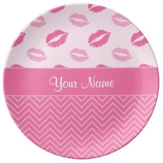 Louça De Jantar Beijos e ziguezagues rosa e branco
