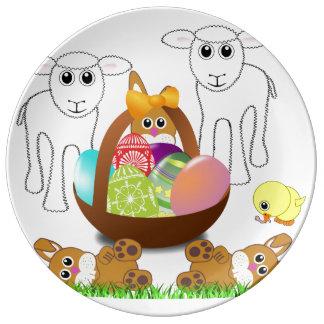 Louça De Jantar Cesta colorida do ovo para a primeira páscoa