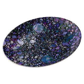 Louça De Jantar Círculos abstratos desenhados mão, azul, roxo,