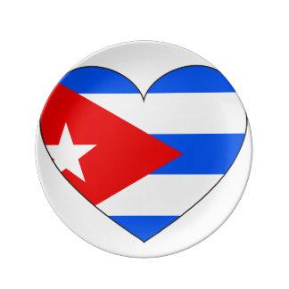 Louça De Jantar Coração da bandeira de Cuba