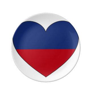 Louça De Jantar Coração da bandeira de Haiti