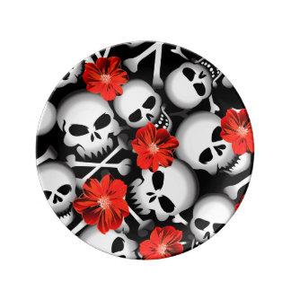Louça De Jantar Crânios e flores