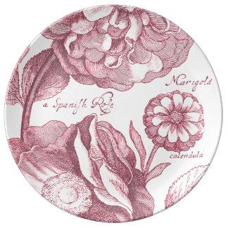 Louça De Jantar Cravos-de-defunto florais do vintage