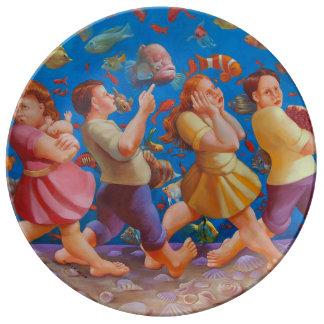 Louça De Jantar Cruzando a placa da porcelana do Mar Vermelho