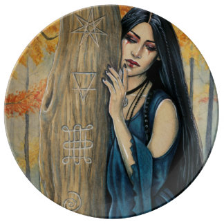 Louça De Jantar Da bruxa gótico do outono de Samhain placa