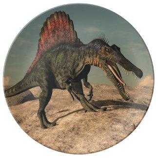 Louça De Jantar Dinossauro de Spinosaurus que caça um cobra