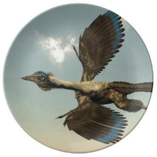 Louça De Jantar Dinossauros dos pássaros do Archaeopteryx que voam