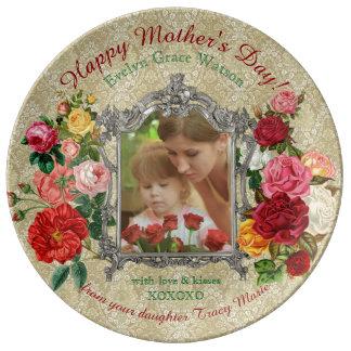 Louça De Jantar Do rico doce dos rosas do dia das mães quadro
