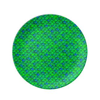 Louça De Jantar Escalas verdes do azul de Falln