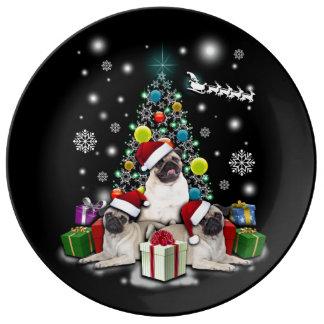 Louça De Jantar Feliz Natal com o animal do cão do Pug