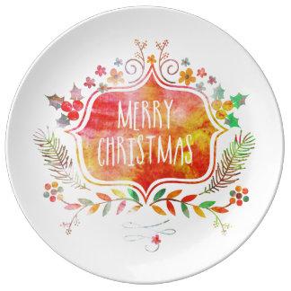 Louça De Jantar Feliz Natal retro da aguarela
