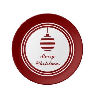 Louça De Jantar Feriados do Bauble do Feliz Natal vermelhos e
