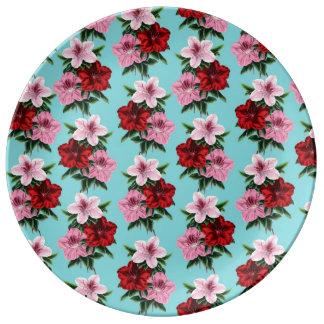 Louça De Jantar flores rosas vermelha na luz da cerceta