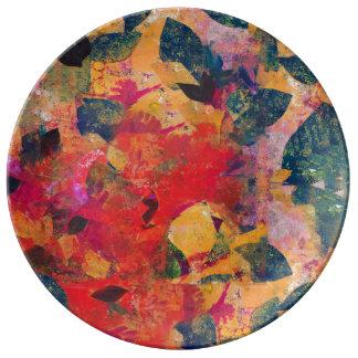 Louça De Jantar Folhas caídas - teste padrão floral decorativo