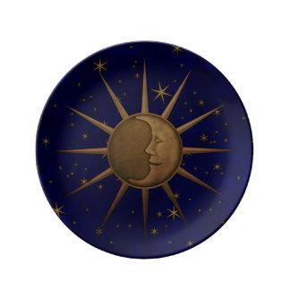 Louça De Jantar Gráfico de bronze do alivio de Bas da lua