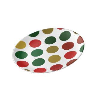 Louça De Jantar Grande teste padrão verde e vermelho de Polkadots