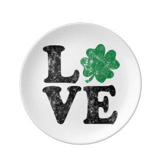 Louça De Jantar Irlandês do trevo do AMOR do Dia de São Patrício