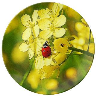 Louça De Jantar Joaninha amarelo do vermelho da boa sorte da flor
