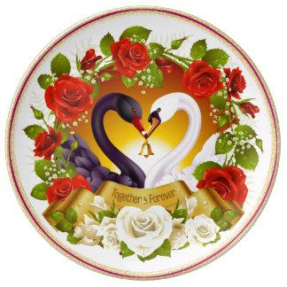 Louça De Jantar Junto para sempre placa decorativa da porcelana