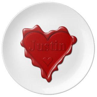 Louça De Jantar Justin. Selo vermelho da cera do coração com