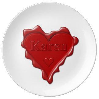 Louça De Jantar Karen. Selo vermelho da cera do coração com Karen