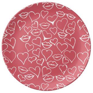 Louça De Jantar lábios artísticas e corações vday
