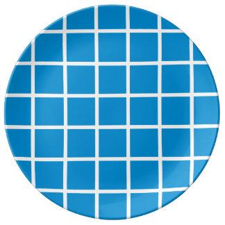 Louça De Jantar Listras brancas corajosas da estrutura no azul do