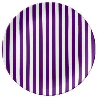Louça De Jantar Listras finas - brancas e violeta escura