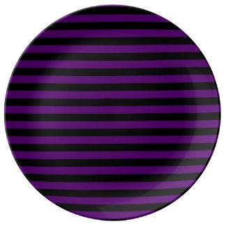 Louça De Jantar Listras finas - pretas e violeta escura