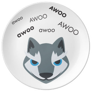 Louça De Jantar Lobo Emoji bonito de Awoo
