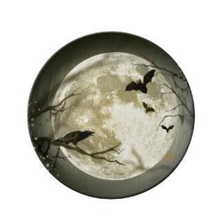Louça De Jantar Lua do Dia das Bruxas - ilustração da Lua cheia