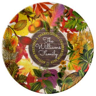 Louça De Jantar Madeira do vintage da colagem das folhas de outono